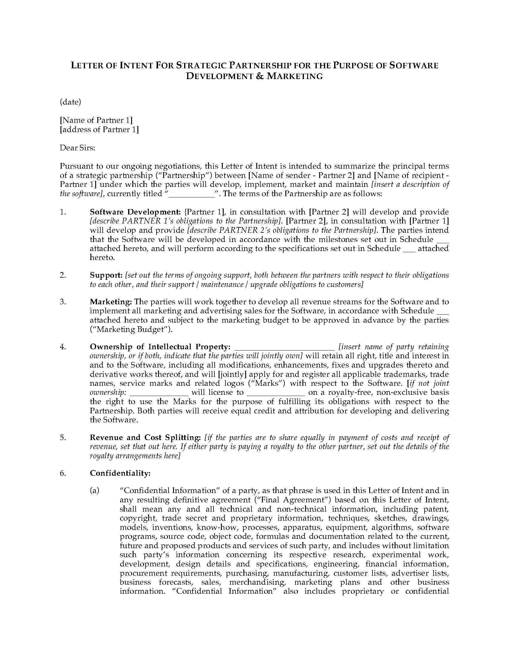 Letter of intent for software development partnership legal forms picture of letter of intent for software development partnership spiritdancerdesigns Images