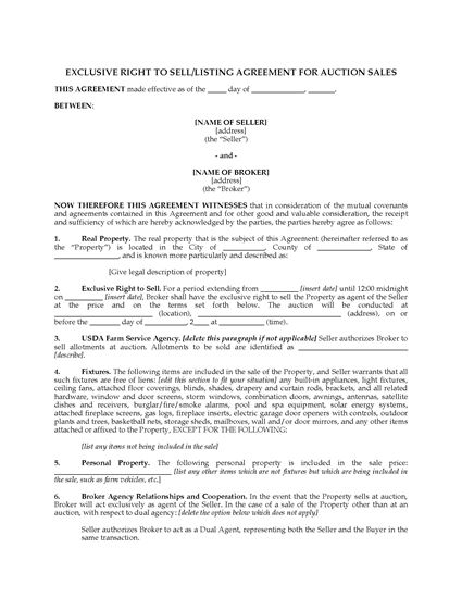 Picture of USA Exclusive Listing Agreement for Property Auction