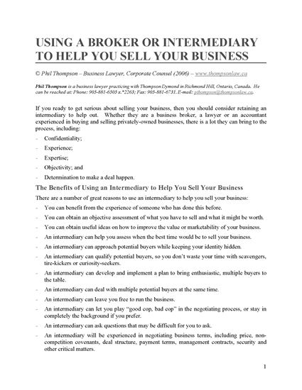 Picture of Using a Broker to Help You Sell Your Business
