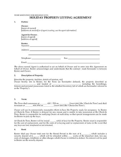 Picture of UK Holiday Property Letting Agreement