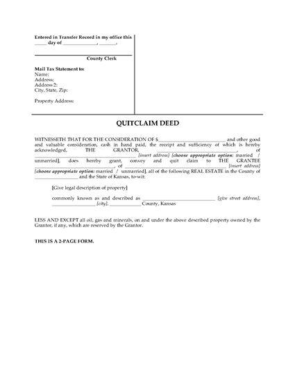 Picture of Kansas Quitclaim Deed