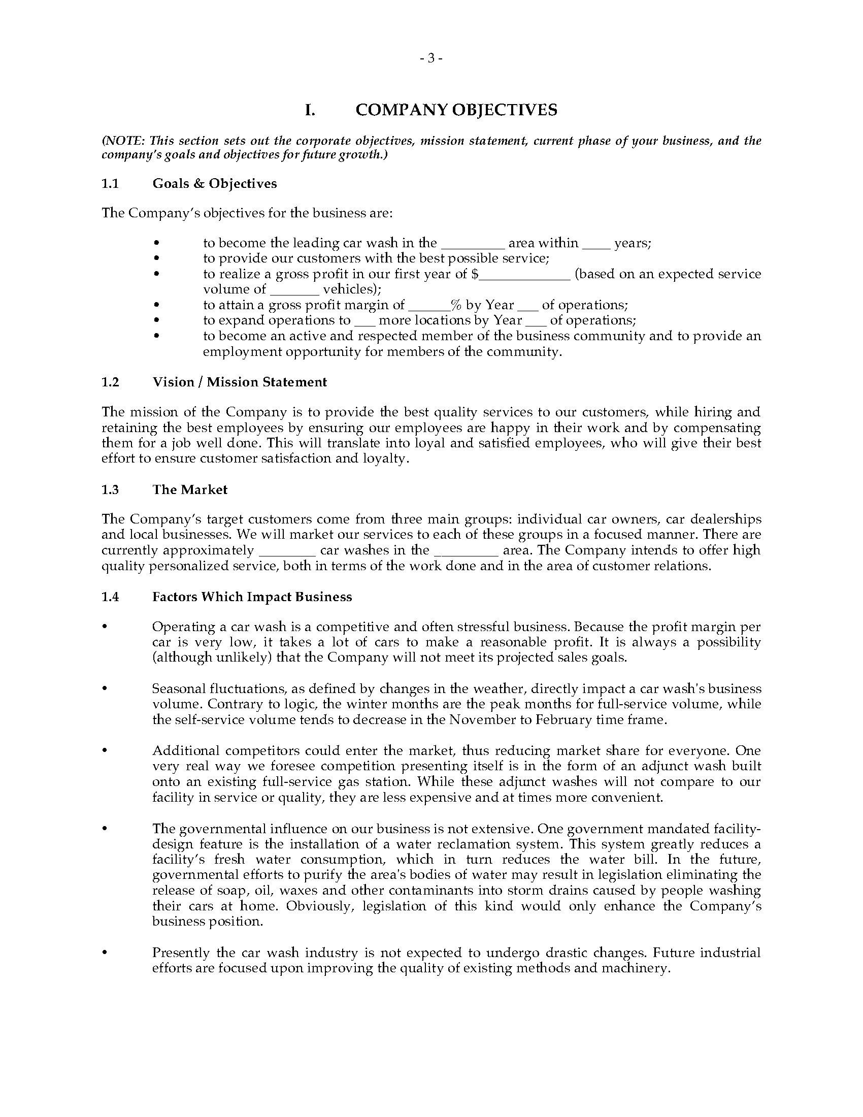 car wash business mission statement