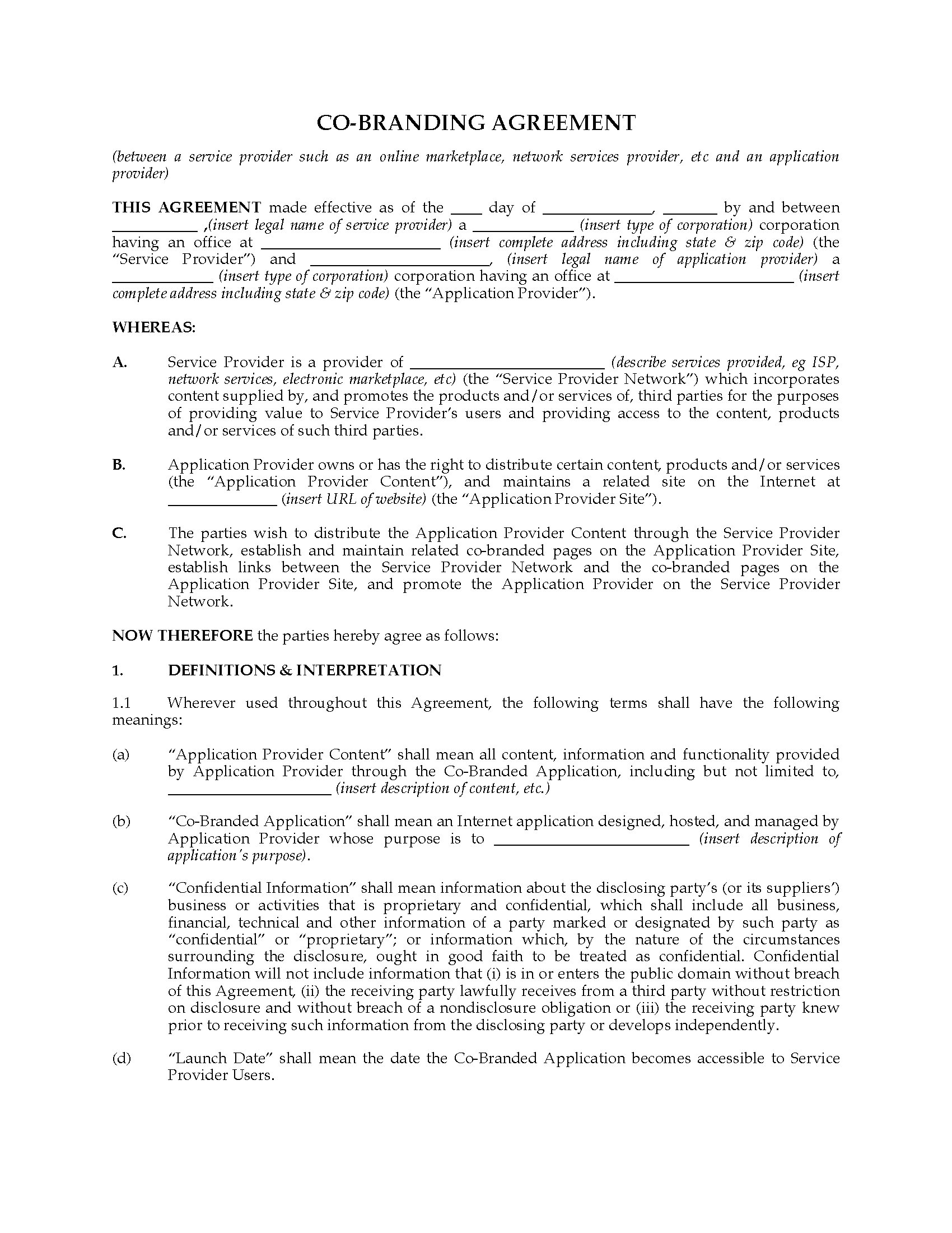 Usa Co Branding Agreement With Application Provider Legal Forms