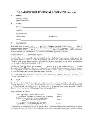 Picture of Alaska Vacation Property Rental Agreement