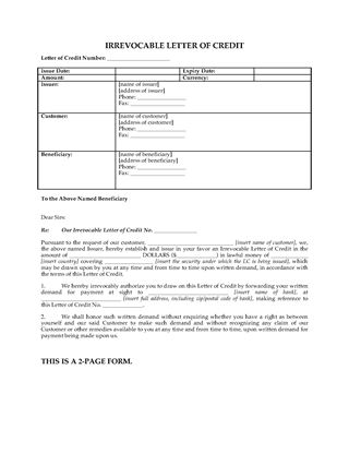 Picture of Irrevocable Letter of Credit