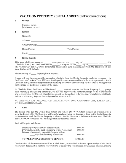 Picture of Connecticut Vacation Property Rental Agreement