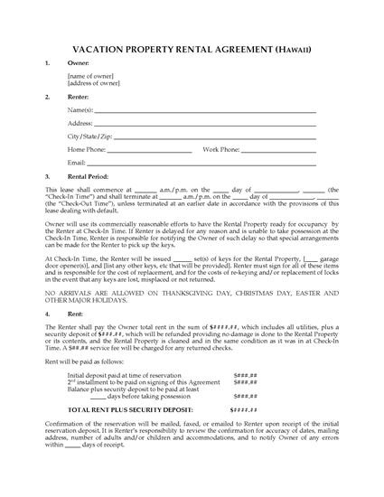 Picture of Hawaii Vacation Property Rental Agreement