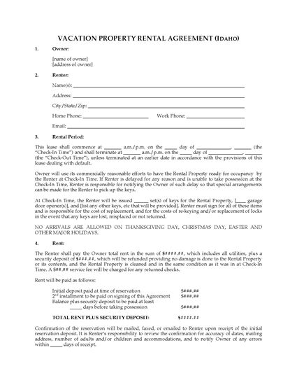 Picture of Idaho Vacation Property Rental Agreement