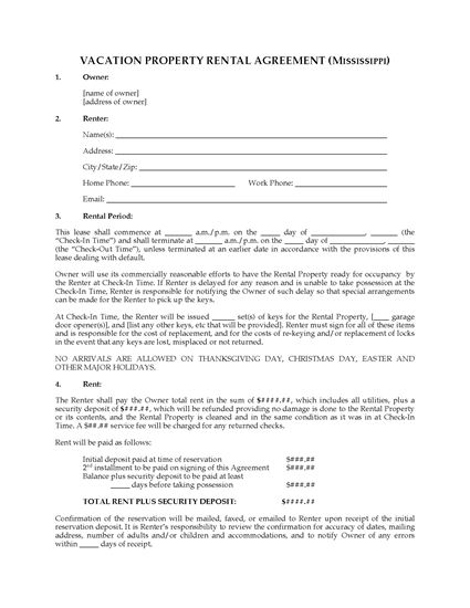 Picture of Mississippi Vacation Property Rental Agreement