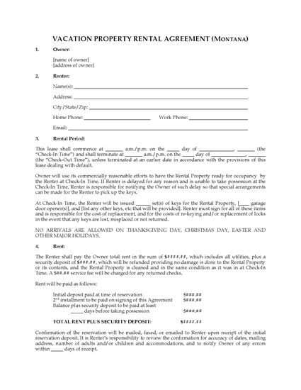 Picture of Montana Vacation Property Rental Agreement