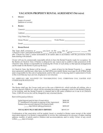 Picture of Nevada Vacation Property Rental Agreement