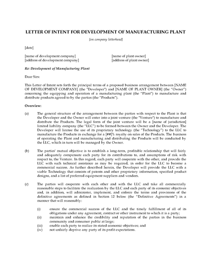 Picture of Letter of Intent for Manufacturing Joint Venture