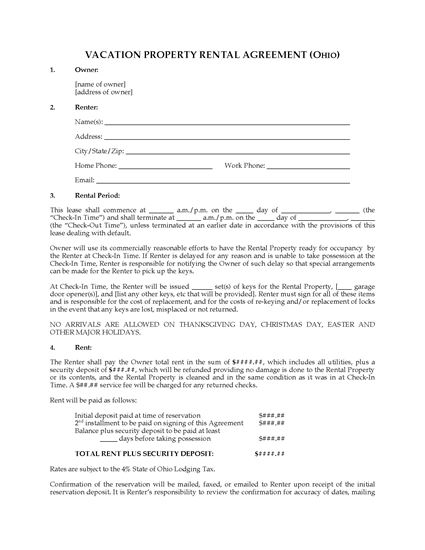 Picture of Ohio Vacation Property Rental Agreement
