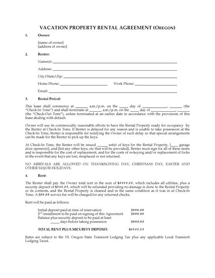 Picture of Oregon Vacation Property Rental Agreement