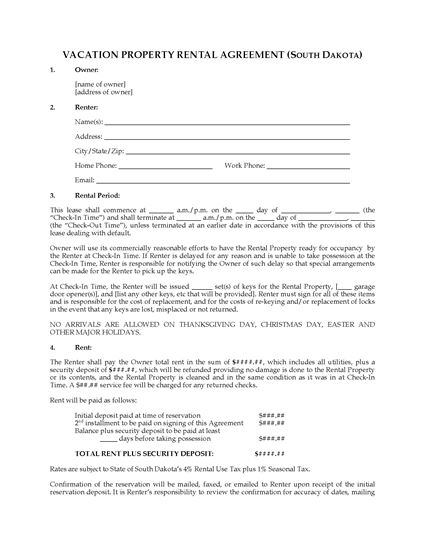 Picture of South Dakota Vacation Property Rental Agreement