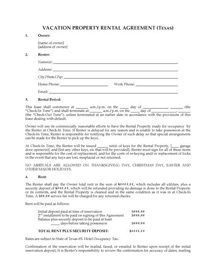 Picture of Texas Vacation Property Rental Agreement
