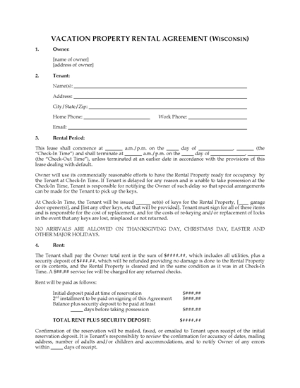 Picture of Wisconsin Vacation Property Rental Agreement