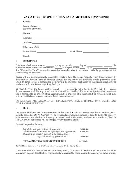 Picture of Wyoming Vacation Property Rental Agreement