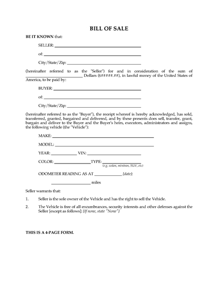 Picture of Bill of Sale for Vehicle | USA