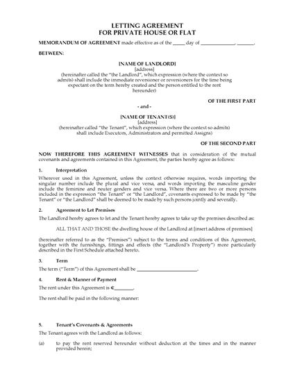 Picture of Ireland Letting Agreement for Private House or Flat
