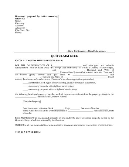 Picture of Alaska Quitclaim Deed for Joint Ownership