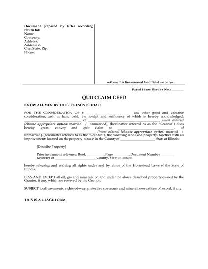 Picture of Illinois Quitclaim Deed