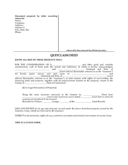 Picture of Connecticut Quitclaim Deed for Joint Ownership