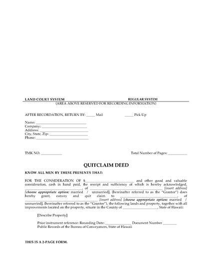 Picture of Hawaii Quitclaim Deed