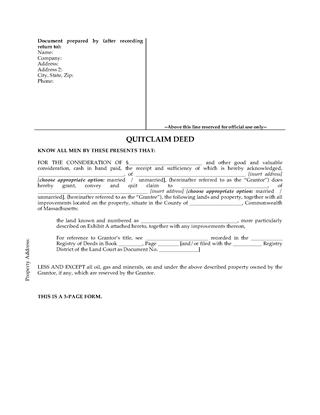 Picture of Massachusetts Quitclaim Deed