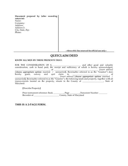 Picture of Maryland Quitclaim Deed