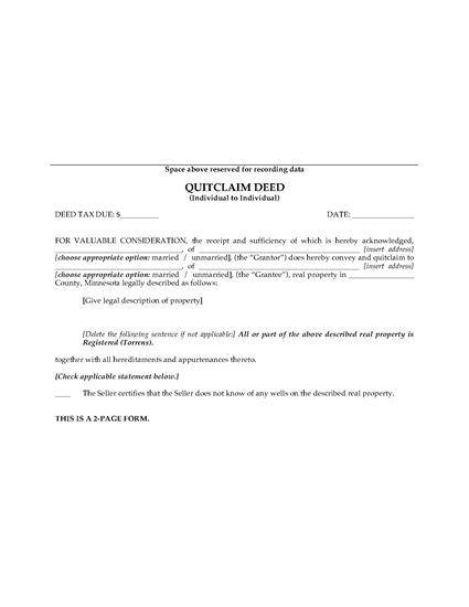 Picture of Minnesota Quitclaim Deed
