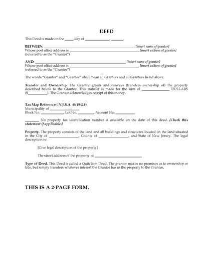Picture of New Jersey Quitclaim Deed