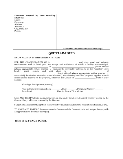 Picture of New Mexico Quitclaim Deed