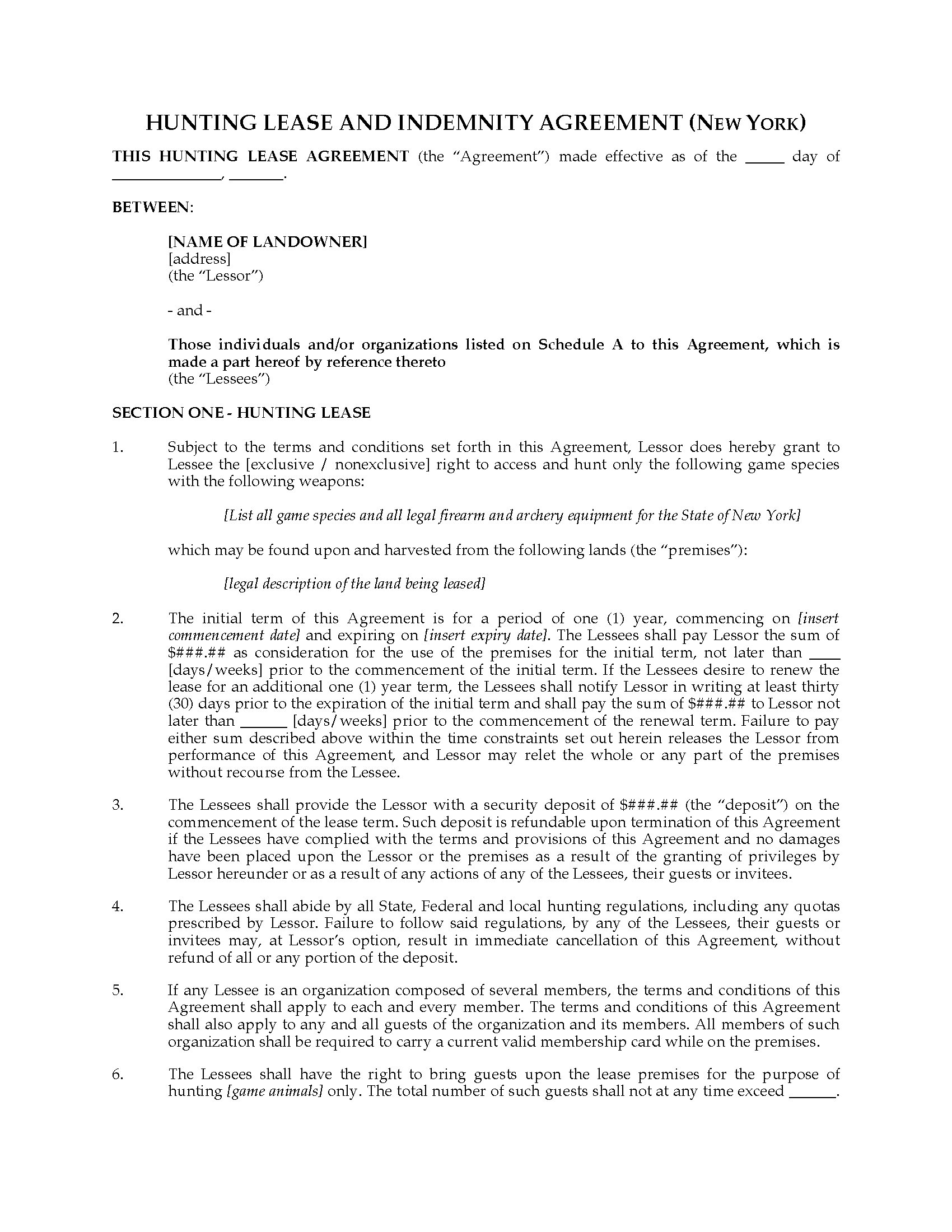 New York Hunting Lease Agreement