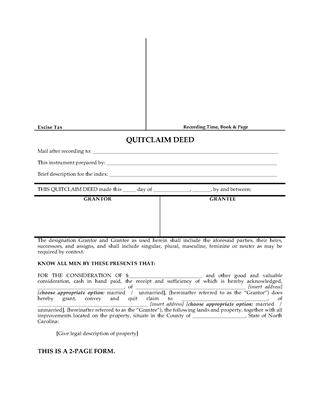 Picture of North Carolina Quitclaim Deed