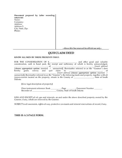 Picture of South Dakota Quitclaim Deed