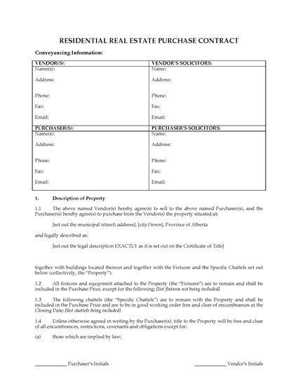 Alberta FSBO Real Estate Contract