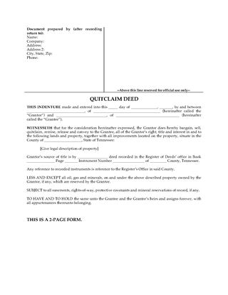 Tennessee Real Estate Forms | Legal Forms And Business Templates
