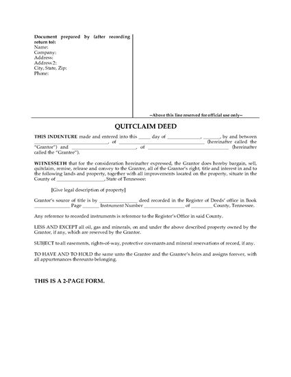 Picture of Tennessee Quitclaim Deed