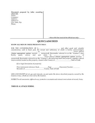 Picture of Utah Quitclaim Deed