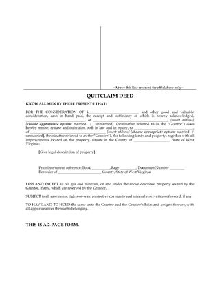 Picture of West Virginia Quitclaim Deed
