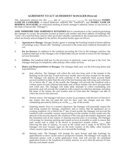 Picture of Hawaii Resident Manager Agreement