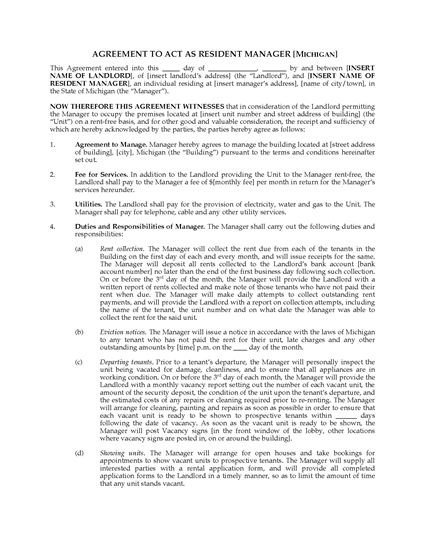 Picture of Michigan Resident Manager Agreement