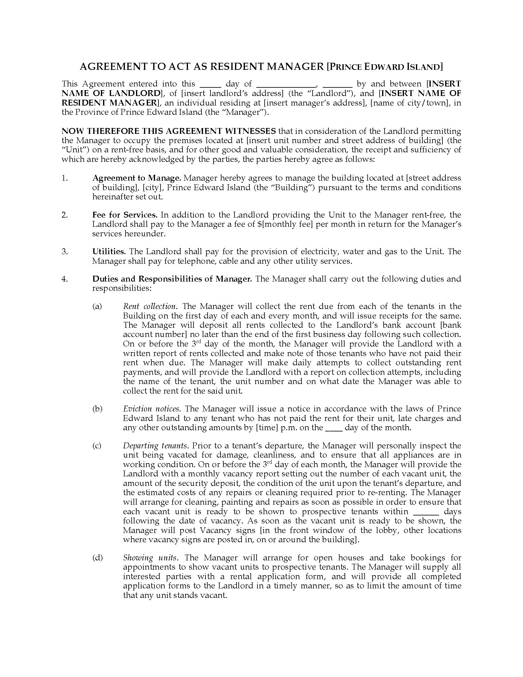Pei Resident Manager Agreement Legal Forms And Business Templates