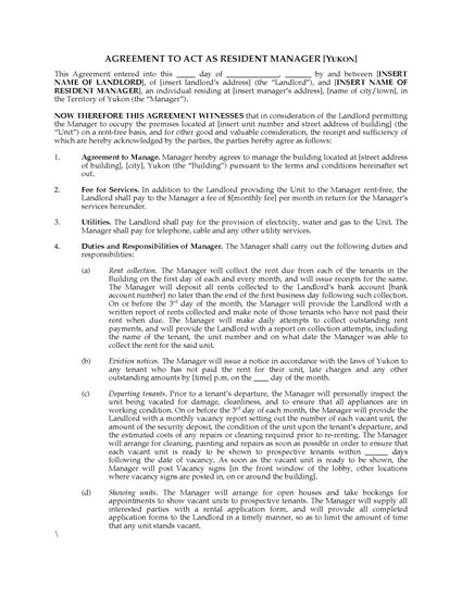 Picture of Yukon Resident Manager Agreement