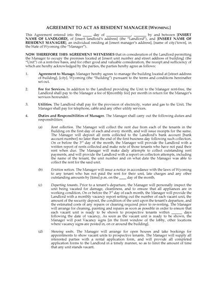 Picture of Wyoming Resident Manager Agreement