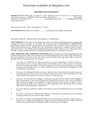 Picture of Restrictive Covenant on Condo Parking Units | Canada