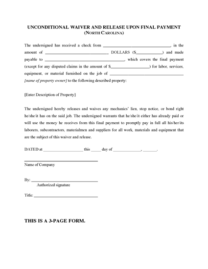 Picture of North Carolina Unconditional Lien Waiver and Release on Final Payment