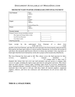 Picture of Oklahoma Mechanic's Lien Waiver and Release on Final Payment