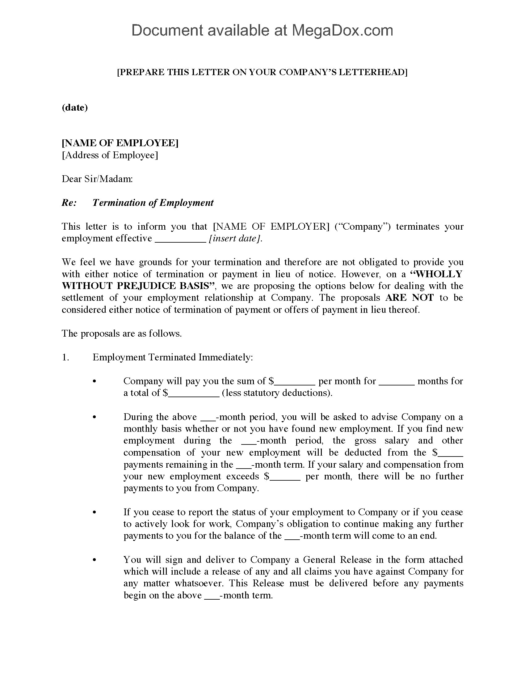 Employment Termination Letter with Settlement Proposal | Legal ...